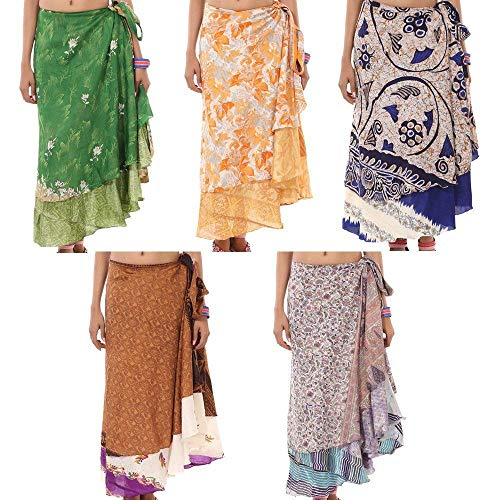 RSJEWELS Wrap Skirt Women Wholesale Lot 5 Printed Reversible Wrap Around - Sari Wrap Women