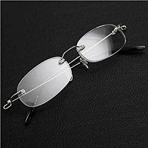 Fashion Clear Vision Frameless Eyeglasses Stylish Spring Hinge Magnifying Crystal Reading Glasses with Protective Case +3.50