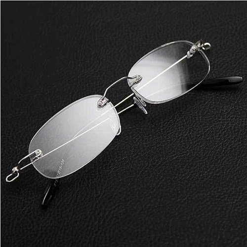 Fashion Clear Vision Frameless Eyeglasses Stylish Spring Hinge Magnifying Crystal Reading Glasses with Protective Case - Spectacle Frames Free