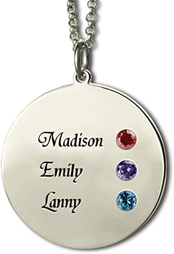 Yandam Personalized Name and Birth Stone Necklace Gift 925 Sterling Silver Necklace