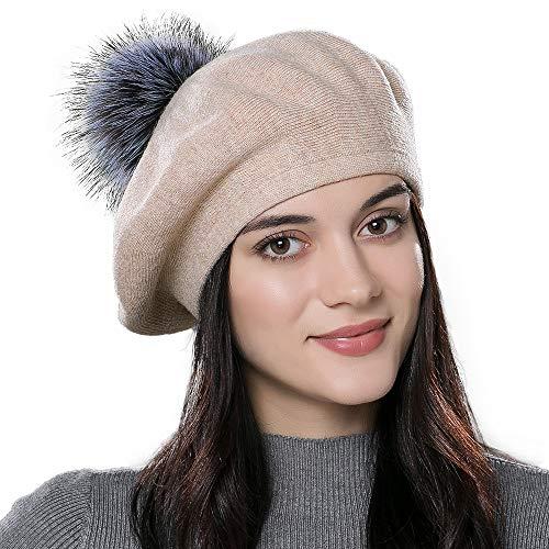 Women Winter French Beret Hats Real Fur Pom Pom Wool Warm Berets Soft Lightweight Casual Hat ()