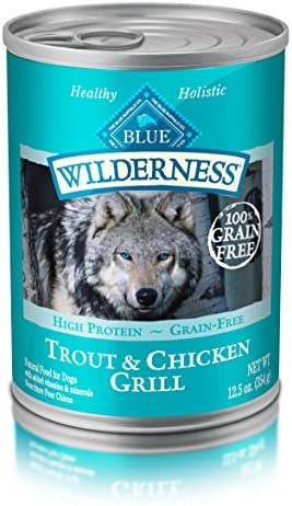 Blue Buffalo Wilderness High Protein Grain Free, Natural Adult Wet Dog Food, Trout Chicken Grill 12.5-Oz Can Pack Of 12