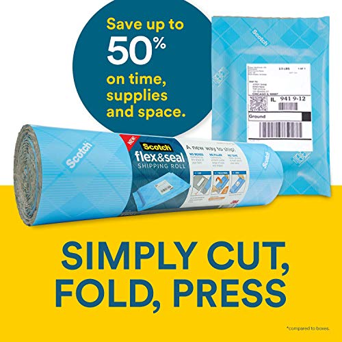 - Scotch Flex & Seal Shipping Roll - Simple Packaging Alternative to Cardboard Boxes, Bubble Mailers, Poly Bags, and Package Cushioning - 1 Roll (15 Inches x 20 Feet)