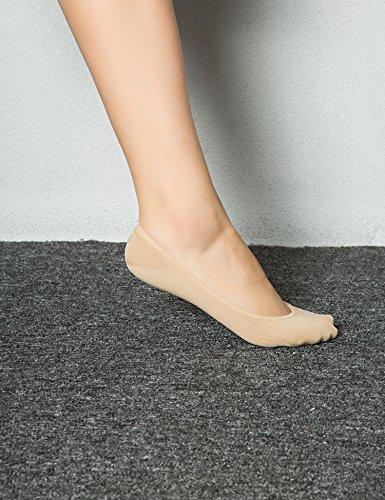 Women%27s+No+Show+Liner+Socks+6+Pairs+Ultra+Low+Cut+Nylon+Casual+Socks+Non+Slip+Beige