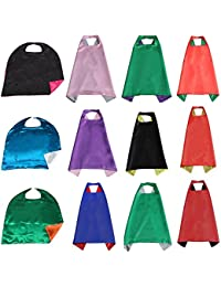 Double-side Satin Superhero Capes for Adult & Kid, Assorted Colors 12Pcs