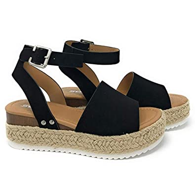 ac34b4ba91 yUhe2018Cw Women's Flatform Espadrilles Ankle Strap Buckle Open Toe Faux  Leather Studded Wedge Summer Sandals Black