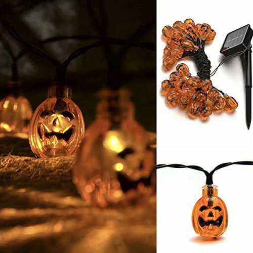 Halloween Pumpkin Lights, 30 LED (24.6 Feet) DAPRIL Solar Powered String Light for Outdoor, Xmas Tree, Garden, Patio, Home, Lawn, (Halloween Teacher Gift Sayings)