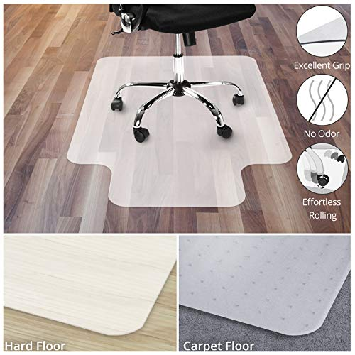 Office Marshal Polypropylene Chair Mat with Lip for Hard Floors - 36