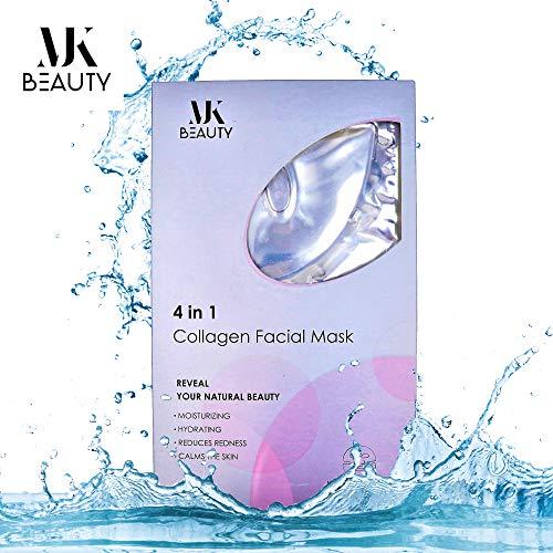 MJK BEAUTY Collagen Moisturizing Face Mask: (Pack of 3) Deluxe Moisturize Brightening Facial Mask | Anti-Wrinkle Beauty Mask To Reduce Fine Lines, Filming & Nourishing | Rejuvenating Collagen Mask. ()