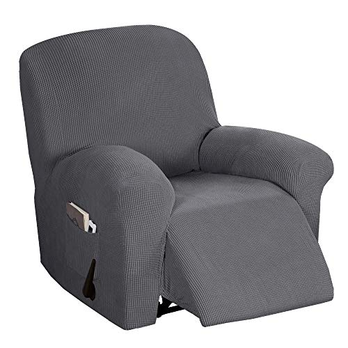 Recliner Chair Cover Durable Soft High Stretch Sofa Cover 1-Piece Recliner Covers for Large Recliner, Furniture Protector with Elastic Bottom, Anti-Slip Foams Attached (Recliner, Charcoal Gray)