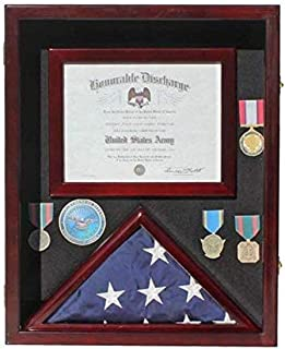 """product image for Flag Display Case Medal Shadow Box with Certificate & Document Holder for 3 x 5 ft Flag Folded, Frame Size 21.75"""" H X 17.5"""" W (Mahogany)"""
