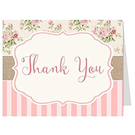 shabby chic cottage thank you cards multiple colors available girls baby shower