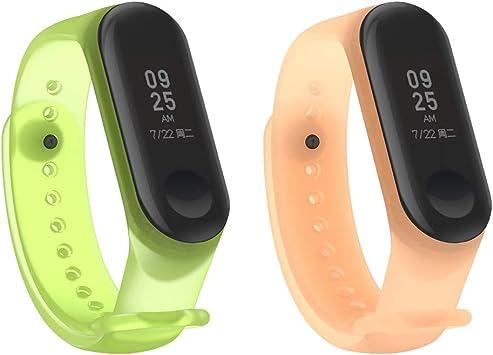 HereMore 2PCS Pulsera Xiaomi Mi Band 3 Correas de Repuesto para Reloj, Colorido Suave Silicona Transparente Recambio Brazalete Banda Extensibles Correa Reemplazo para Xiaomi Mi Band 3, Naranja, Verde: Amazon.es: Deportes y