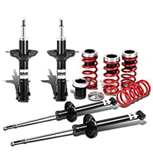 DNA Motoring Volkswagen Golf/Jetta A3 Shock Absorbers (Black)+Scaled Coilover Spring (Red)