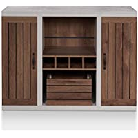 HOMES: Inside + Out FGI-1777C21 Cato Buffet Industrial, Distressed Walnut and Cement