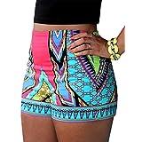 ETbotu Women`s Summer Beach Shorts Casual Boho Flower Printed Slim Tight Short Pants Large Multicoloured