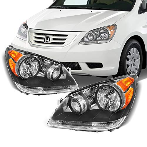 - Fits 2008 2009 2010 Honda Odyssey Van Front Black Housing Headlights Headlamps Assembly Replacement Pair