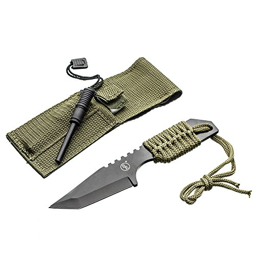 Magnesium Alloy Fire Starter (SE KHK6320-FFP Outdoor Tanto Knife with Fire Starter, Black, Fix Blade Pocket Knife)