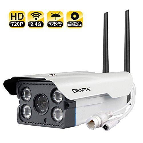BENEVE Cámara de Seguridad para Exteriores Smart WiFi,Cámara IP HD 720P Visión Nocturna con Detección de Movimiento a...