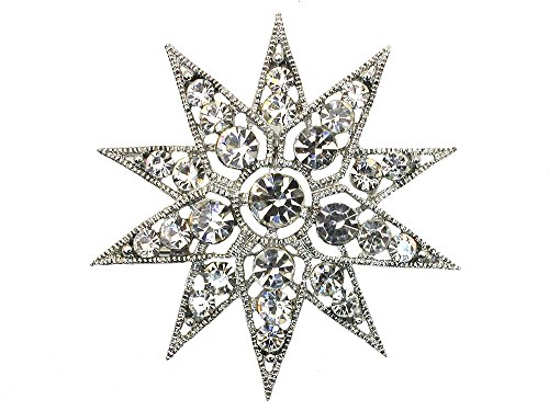 Faship Gorgeous Clear Crystal Snowflake Star Floral Pin Brooch