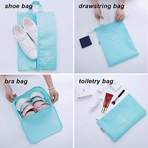 8 pcs Large Packing Cubes Travel Luggage Organizer Set With Shoe Bag (turquoise) by VEETON (Image #4)
