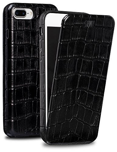 Sena Magnet Flip, Handmade all leather Vertical Flip case for the iPhone 7 Plus - Croco Black