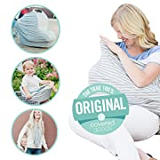 Covered Goods - The Original Multi Use Maternity Breastfeeding Nursing Cover, Infinity Scarf, and Car Seat Cover - Grey & Ivory