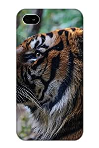 Storydnrmue Rugged Skin Case Cover For Iphone 4/4s- Eco-friendly Packaging(Animal Tiger Noble Predator)