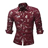 Men Casual Dress Shirt Gold Rose Bloom Floral Print Long Sleeve Shirt Zulmaliu(L-4XL) (XL, Red)