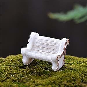 danmu 2pcs bancos de resina Mini casa en miniatura jardín de hadas Micro Paisaje Decoración de Hogar Jardín Macetas Bonsai Craft Decor