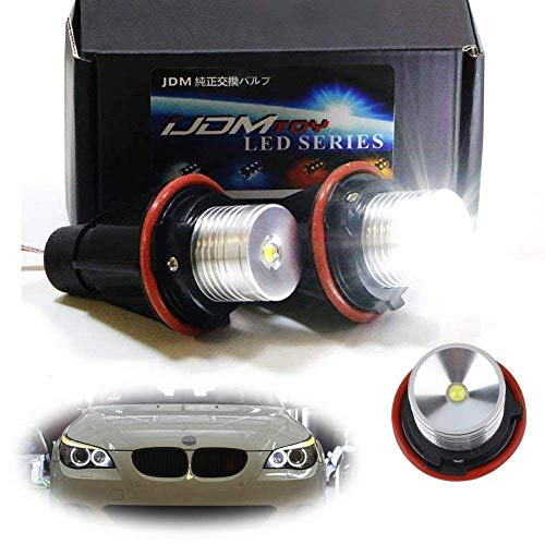 - iJDMTOY (2) White LED Angel Eye Ring Marker Bulbs For BMW 5 6 7 Series X3 X5 (E39 E53 E60 E63 E64 E65 E66 E83), 7000K White