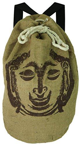 Guru-Shop Jute Rucksack mit Buddha Motiv, Herren/Damen, Braun, Synthetisch, Size:One Size, 50x25x25 cm, Bunter Stoffbeutel