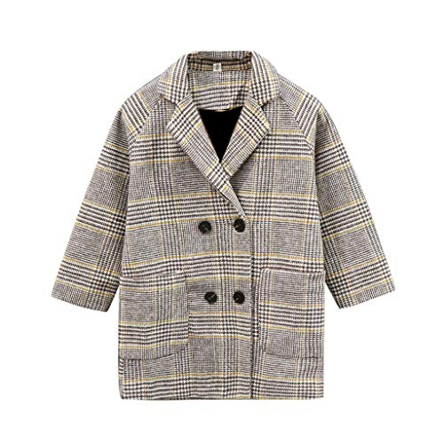 Kehen- Little Kid Fleece Jacket with Buttons Toddler Girl Lapel Double Breasted Pea Coat Trench Coat (Yellow,3-4T)