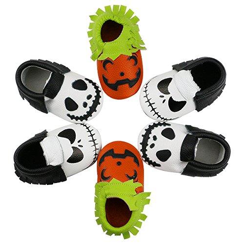 Bebila Halloween Cute Pumpkin Moccasins- Baby Boys Girls Shoes Leather Soft Sole for Prewalkers Toddlers