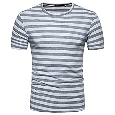 GREFER Men's Summer Casual Stripe Round Neck Pullover T-Shirt Short Sleeve Top Blouse