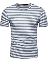 Men's Summer Casual Stripe Round Neck Pullover T-Shirt Short Sleeve Top Blouse