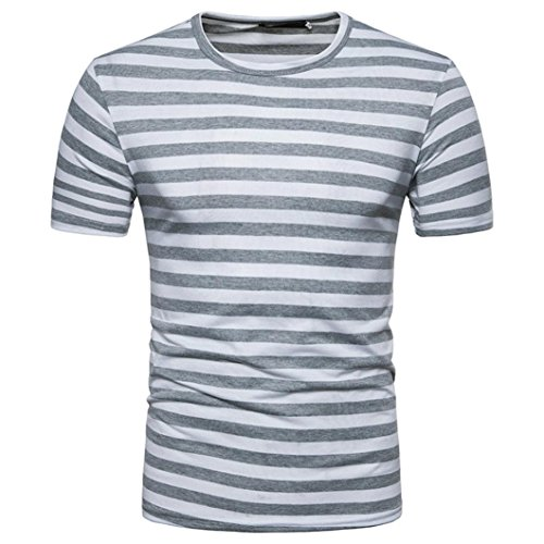 GREFER Men's Summer Casual Stripe Round Neck Pullover T-Shirt Short Sleeve Top Blouse (XL, (Pullover Men T Shirt)