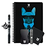 WHYNOTE Format A5 Black kit – Erasable Journal Notebook Similar to a whiteboard – The Notebook with Lined Paper – Includes: a Cleaning kit and a Felt Pen which is Water Erasable. (Bulldog)