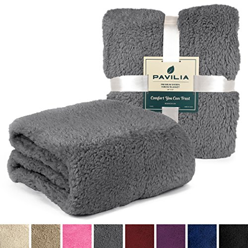 PAVILIA Plush Sherpa Throw Blanket for Couch, Sofa | Fluffy Solid Grey Fleece Throw | Soft, Warm, Fuzzy, Cozy, Lightweight Microfiber | 50'' x 60'' (Sherpa Blanket)