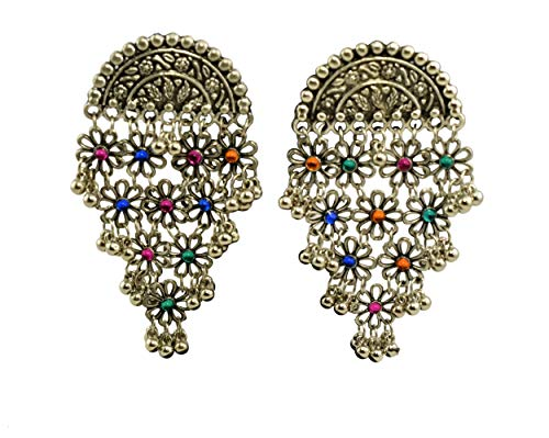 Indian Earrings Designer (Tripti Indian Jewelry, Designer Corrode Oxidized Silver Floral Web Dangler Earrings with Multi Color Beads for Women and Girls)