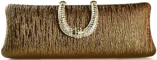 Zenness Elegant Women Evening Purse Handbag with Rhinestone Deco (Coffee Golden)