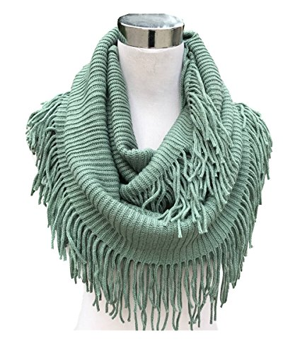 Lucky Leaf Women Fashion Thick Knitting Woolen Infinity Scarf Circle Loop Scarves with Long Fringe (Aqua 1)