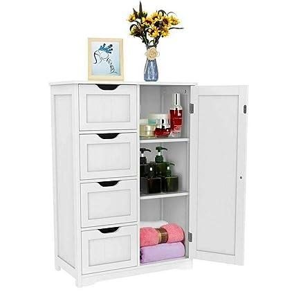 Walgreen New White Floor Cabinet Wooden Elegant Home Storage Organizer Furniture Bathroom