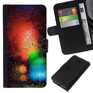LECELL--Cuero de la tarjeta la carpeta del tirón Smartphone Slots Protección Holder For LG OPTIMUS L90 -- Colores Bokeh --
