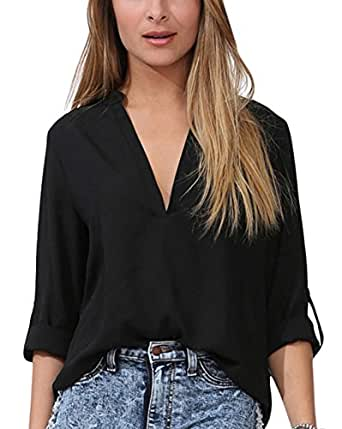 Dearlovers Women Solid V Neck Loose Fitting Chiffon Blouse Top Small Black