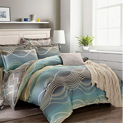 - 100% Washed Cotton Duvet Cover Set Queen 3 Pieces Striped Wave Cotton Bedding Duvet Set Ultra Soft and Easy Care, Fade Resistant (Green, 3 Pcs)