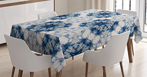 Ambesonne Blue and Grey Tablecloth, Tie Dye Effect Print Art Featured Odd and Hazy Forms in Symmetric Axis Design, Dining Room Kitchen Rectangular Table Cover, 52 W X 70 L Inches, Blue Grey (Tie Dye Tablecloth)