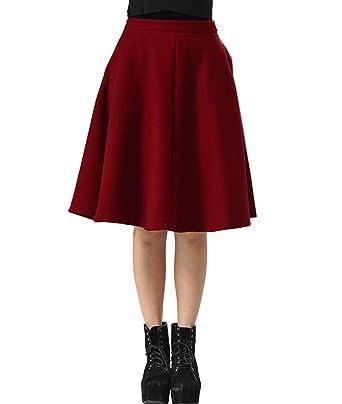 c6aaf50cb9 Femirah Women's Wool Midi Skirt A-Line Pleated Vintage Plaid Winter Swing  Skirts (Waist