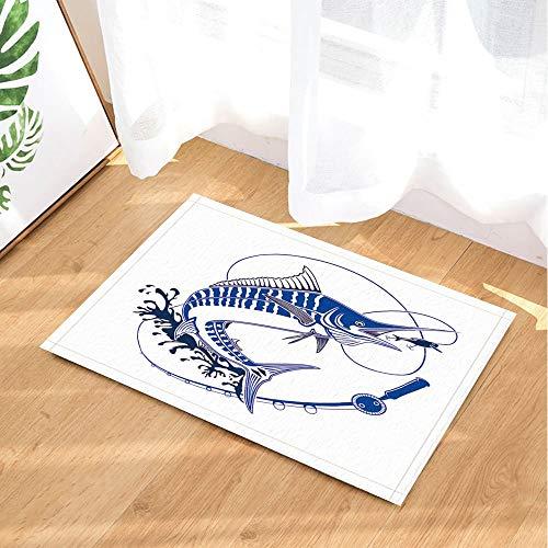 GoEoo Illustration Marlin Fish Bath Rugs for Bathroom Fish in Waves with Fishing Rod Non-Slip Doormat Floor Entryways Indoor Front Door Mat Kids Bath Mat 15.7x23.6in