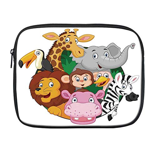 Cartoon Decor Compatible with Nice iPad Bag,Exotic Safari Animals All Together Comic Creature with Zebra and Elephant Friend Trek Sketch for Office,One Size